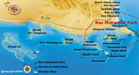 Map of Ras Mohamed National Park in Sharm el Sheikh, South Sinai Egypt