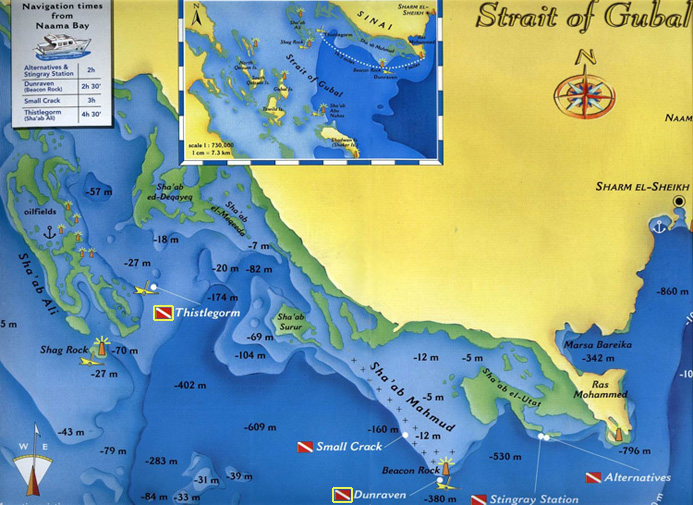 Diving Site Map of Strait of Gubal - Red Sea Divers International in Sharm el Sheikh, Egypt