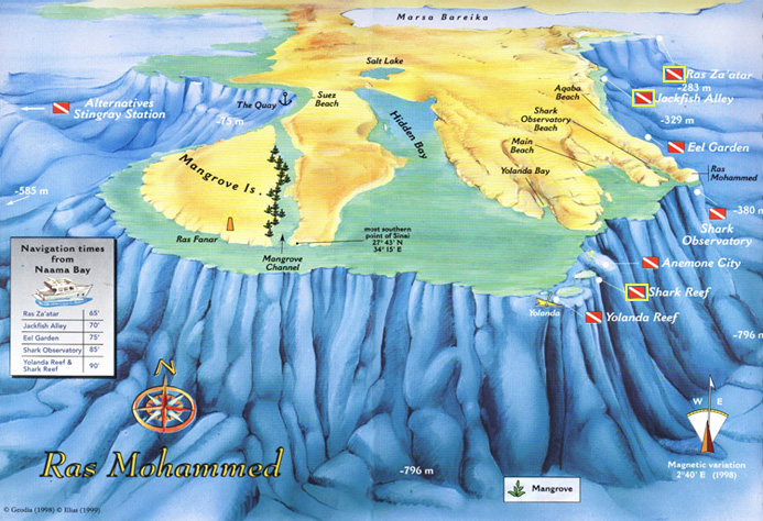 Ras Mohamed National Park Diving Site Map - Red Sea Divers International in Sharm el Sheikh Egypt