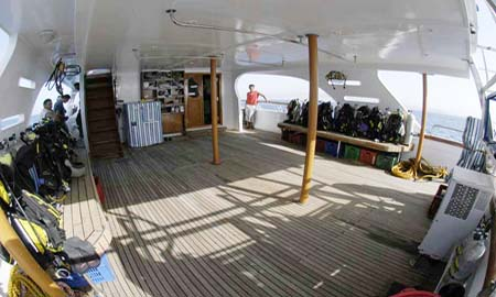 Dive Deck on M/Y Juliet Liveaboad Diving Motor Yacht in Sharm el Sheikh Egypt