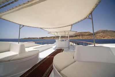 Top Sun Deck on King Snefro 3 Liveaboad Diving Motor Yacht in Sharm el Sheikh Egypt